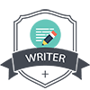 Writer plus badge